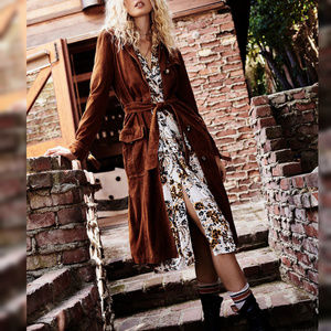 NEW Free People Larsen Brown Suede Trench Coat